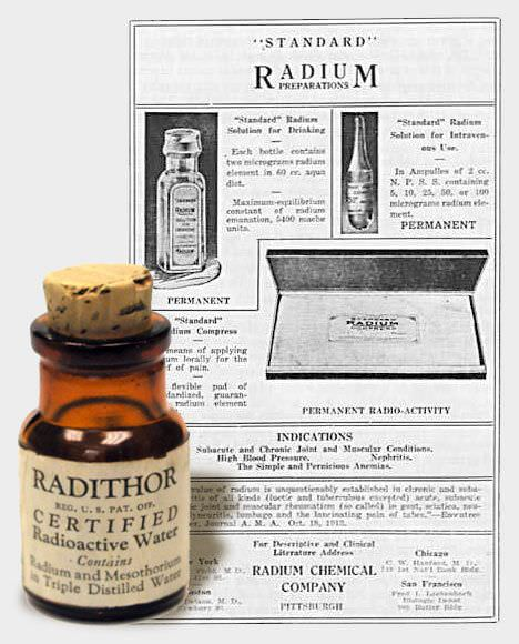 A bottle of Radithor sitting in front of a paper advertisement for it. The Radithor bottle's label indicates that it is certified radioactive water.